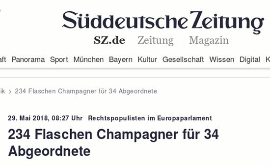 29. Mai 2018, 08:27 Uhr -- Rechtspopulisten im Europaparlament -- 234 Flaschen Champagner für 34 Abgeordnete