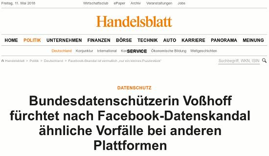 Bildschirmfoto handelsblatt -- Datenschutz: Bundesdatenschützerin Voßhoff fürchtet nach Facebook-Datenskandal ähnliche Vorfälle bei anderen Plattformen