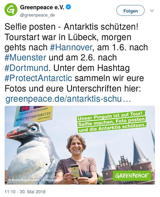 Fiepser von greenpeace E.V., @greenpeace_de vom 30. mai 2018, 11:10 uhr -- Selfie posten - Antarktis schützen! Tourstart war in Lübeck, morgen gehts nach #Hannover, am 1.6. nach #Muenster und am 2.6. nach #Dortmund. Unter dem Hashtag #ProtectAntarctic sammeln wir eure Fotos und eure Unterschriften hier: https://www.greenpeace.de/antarktis-schuetzen …