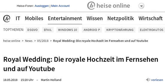 Heise Online -- Royal Wedding: Die royale Hochzeit im Fernsehen und auf Youtube