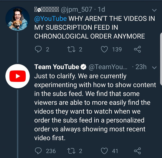 @YouTube WHY AREN'T THE VIDEOS IN MY SUBSCRIPTION FEED IN CHRONOLOGICAL ORDER ANYMORE -- Antwort von @YouTube: Just to clarify. We are currently experimenting with how to show content in the subs feed. We find that some viewers are able to more easily find the videos they want to watch when we order the subs feed in a personalized order vs always showing most recent video first