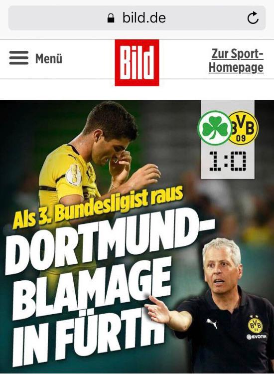 Als 3. Bundesligist raus: Dortmund-Blamage in Fürth