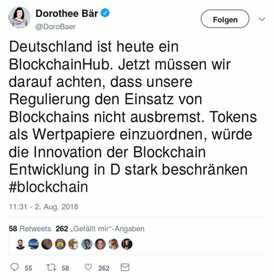 Fiepser von @DoroBaer, verifizierter äkkaunt, vom 2. august 2018, 11:31 uhr: Deutschland ist heute ein BlockchainHub. Jetzt müssen wir darauf achten, dass unsere Regulierung den Einsatz von Blockchains nicht ausbremst. Tokens als Wertpapiere einzuordnen, würde die Innovation der Blockchain Entwicklung in D stark beschränken #blockchain