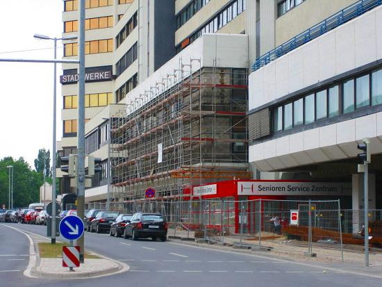 Das Gerüst am Ihmezentrum an der Seite zur Blumenauer Straße aus dem Jahr 2008.