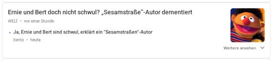 Ernie und Bert doch nicht schwul? 'Sesamstraße'-Autor dementiert (Die Welt) -- Ja, Ernie und Bert sind schwul, erklärt ein 'Sesamstraßen'-Autor (bento)