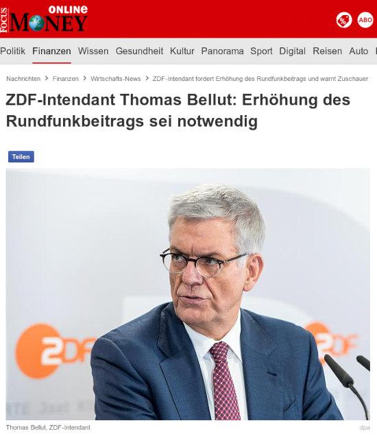 ZDF-Intendant Thomas Bellut: Erhöhung des Rundfunkbeitrages sei notwendig