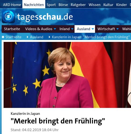 Bildschirmfoto tagesschau.de, meldung vom 4. februar 2019 -- Kanzlerin in Japan: Merkel bringt den Frühling