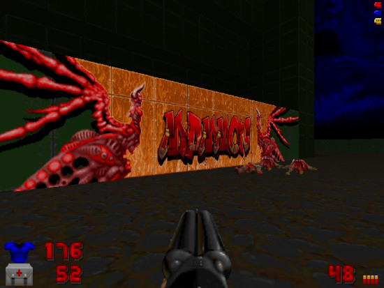 Bildschirmfoto doom: graffito 'MAMMON'.