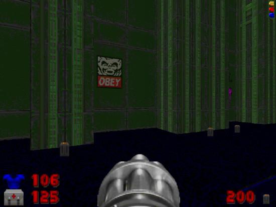 Bildschirmfoto doom: an einer wand ist ein graffito 'obey'.
