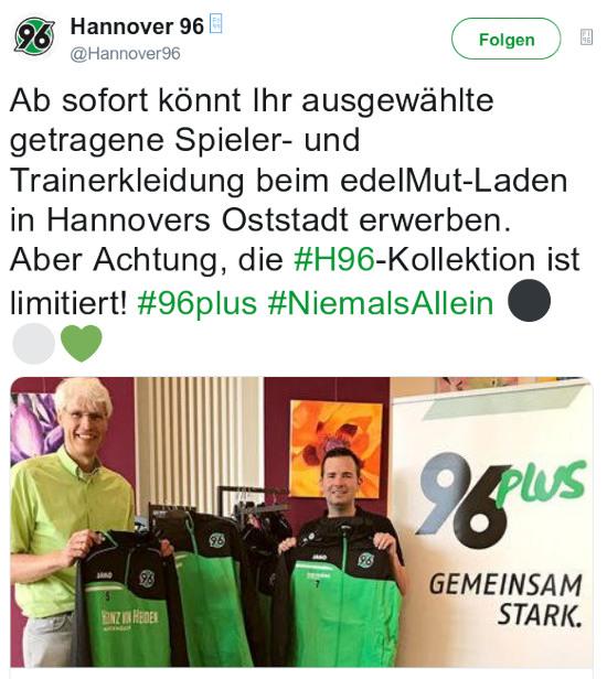 Ab sofort könnt Ihr ausgewählte getragene Spieler- und Trainerkleidung beim edelMut-Laden in Hannovers Oststadt erwerben. Aber Achtung, die #H96-Kollektion ist limitiert! #96plus #NiemalsAllein