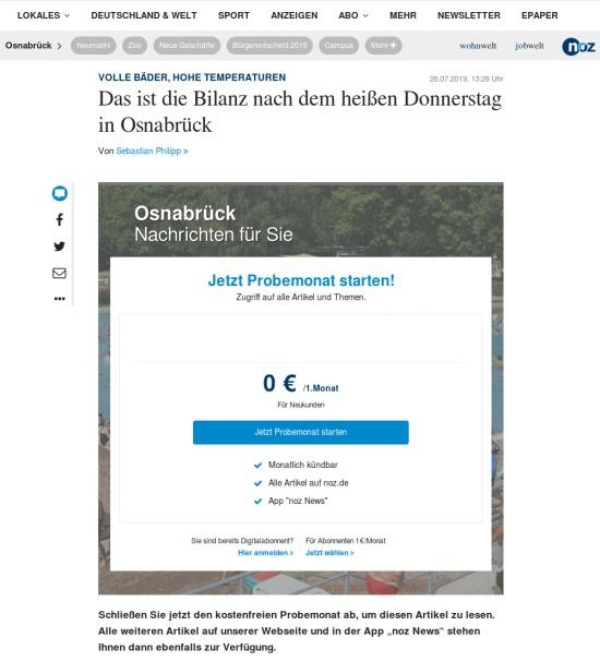 Website der NOZ -- Volle Bäder, hohe Temperaturen -- Das ist die Bilanz nach dem heißen Donnerstag in Osnabrück -- Paywall-Anzeige und Aufforderung, dafür auch noch Geld auszugeben