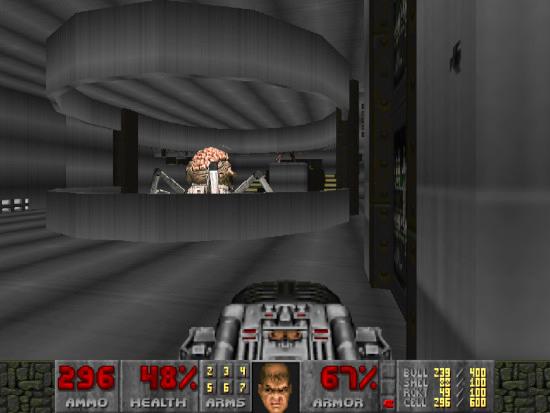 Bildschirmfoto doom: mit einer BFG gegen eine spider mastermind (ein großes gehirn auf mechanischen spinnenbeinen)