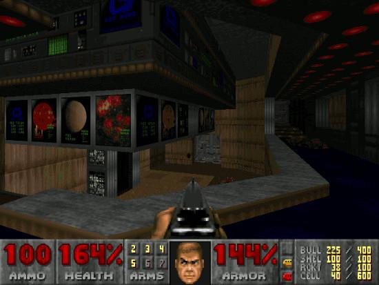 Bildschirmfoto aus doom, einem beliebten kompjuterspiel aus dem jahr 1993