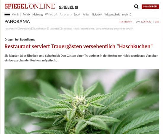 Spiegel Online -- Panorama --  Drogen bei Beerdigung: Restaurant serviert Trauergästen versehentlich 'Haschkuchen' -- Sie klagten über Übelkeit und Schwindel: Den Gästen einer Trauerfeier in der Rostocker Heide wurde aus Versehen ein berauschender Kuchen aufgetischt