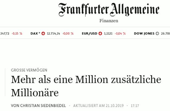 Bildschirmfoto der webseit der frankfurter allgemeinen -- GROẞE VERMÖGEN: Mehr als eine Million zusätzliche Millionäre -- von Christian Siedenbiedel