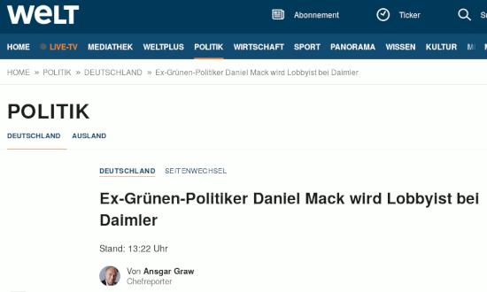 Bildschirmfoto von der welt: Deutschland -- Seitenwechsel -- Ex-Grünen-Politiker Daniel Mack wird Lobbyist bei Daimler -- Stand: 13:22 Uhr -- Von Ansgar Graw, Chefreporter
