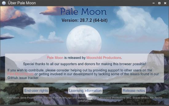 Versionsanzeige meines webbrausers: pale moon, versjon 28.7.2 (64-bit)