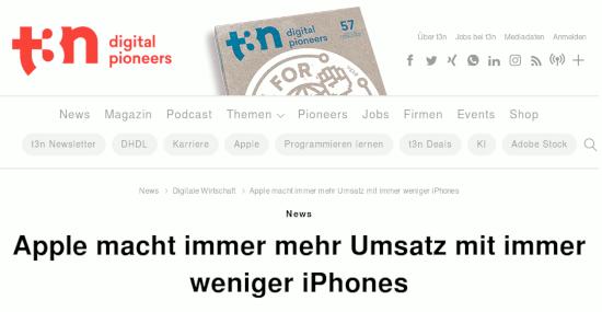 Schlagzeile bei t3n -- »News: Apple macht immer mehr Umsatz mit immer weniger iPhones«.