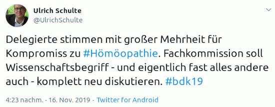 Fieper von Ulrich Schulte, @UlrichSchulte -- Delegierte stimmen mit großer Mehrheit für Kompromiss zu #Hömöopathie. Fachkommission soll Wissenschaftsbegriff - und eigentlich fast alles andere auch - komplett neu diskutieren. #bdk19