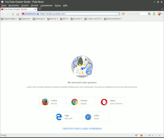 Bildschirmfoto 'YouTube Creator Studio' mit einer fehlermeldung, dass es mit meinem webbrauser nicht geht