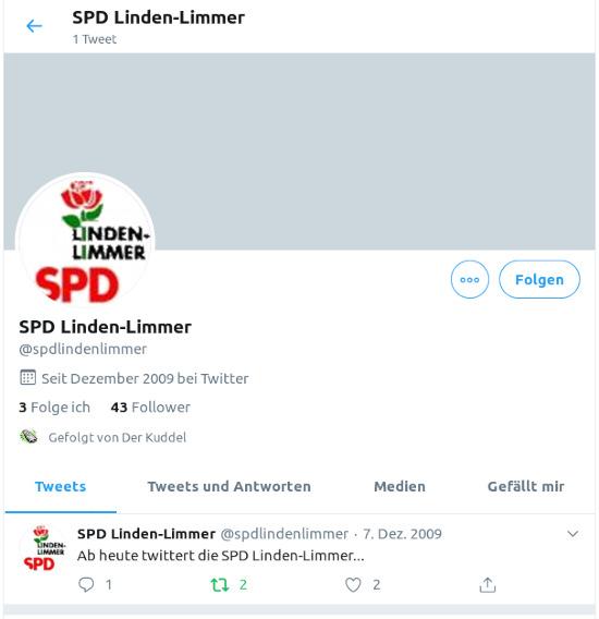 Bildschirmfoto mit einem einzigen fiepser vom 7. dezember 2009: Ab heute twittert die SPD Linden-Limmer