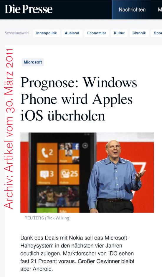 Bildschirmfoto 'Die Presse' -- Microsoft -- Prognose: Windows Phone wird Apples iOS überholen -- Dank des Deals mit Nokia soll das Microsoft-Handysystem in den nächsten vier Jahren deutlich zulegen. Marktforscher von IDC sehen fast 21 Prozent voraus. Großer Gewinner bleibt aber Android.