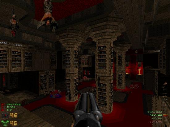 Screenshot einer Bücherei aus einem DooM-Mod