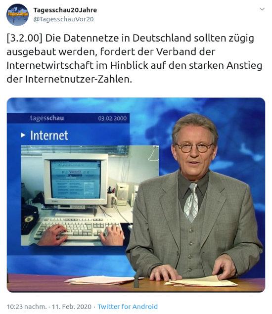 Fiepser von @tagesschauvor20@twitter.de vom 11. februar 2020, 10:23 uhr -- [3.2.00] Die Datennetze in Deutschland sollten zügig ausgebaut werden, fordert der Verband der Internetwirtschaft im Hinblick auf den starken Anstieg der Internetnutzer-Zahlen.