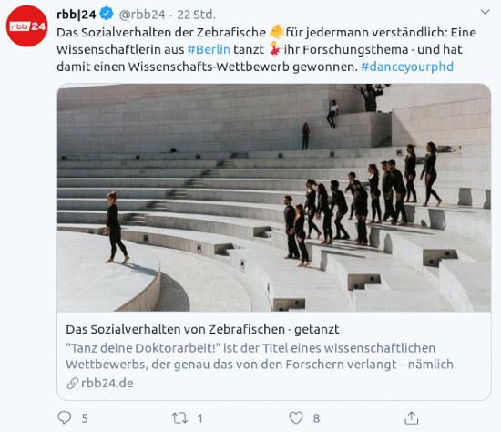 Fiepser von @rbb24: Das Sozialverhalten der Zebrafische 🐠 für jedermann verständlich: Eine Wissenschaftlerin aus #Berlin tanzt 💃 ihr Forschungsthema - und hat damit einen Wissenschafts-Wettbewerb gewonnen. #danceyourphd