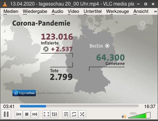 Bildschirmfoto VLC beim abspielen der 20:00-uhr-tagesschau vom 13. april 2020 -- Eine bildschirmgrafik mit der deutschlandkarte -- Corona-Pandemie -- 123.016 Infizierte (+2.537) -- 2.799 Tote -- 64.300 Genesene