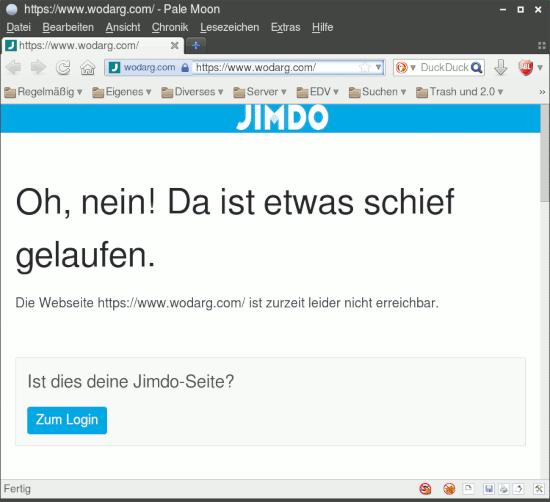 Bildschirmfoto der webseit unter wodarg.com -- Eine fehlermeldung des webseit-baukastens 'jimdo': 'Oh nein! Da ist etwas schief gelaufen! Die Website unter http://www.wodarg.com/ ist zurzeit leider nicht erreichbar. Ist das deine Jimdo-Seite? [Zum Login]'.