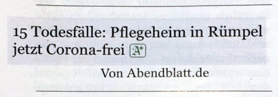15 Todesfälle: Pflegeheim in Rümpel jetzt Corona-frei. -- Von Abendblatt.de