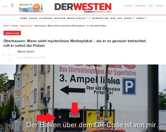 Screenshot Der Westen -- das angebliche plakat ist mit dem QR-kohd abgebildet, der auf einen kriminellen schopp im internetz führt