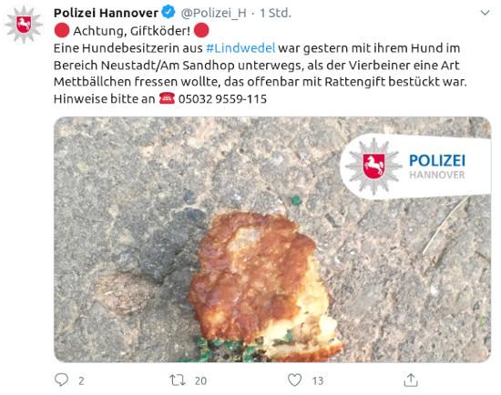 Fiepser von Polizei Hannover @Polizei_H: 🔴 Achtung, Giftköder! 🔴 -- Eine Hundebesitzerin aus #Lindwedel war gestern mit ihrem Hund im Bereich Neustadt/Am Sandhop unterwegs, als der Vierbeiner eine Art Mettbällchen fressen wollte, das offenbar mit Rattengift bestückt war. Hinweise bitte an -- ☎ 05032 9559-115