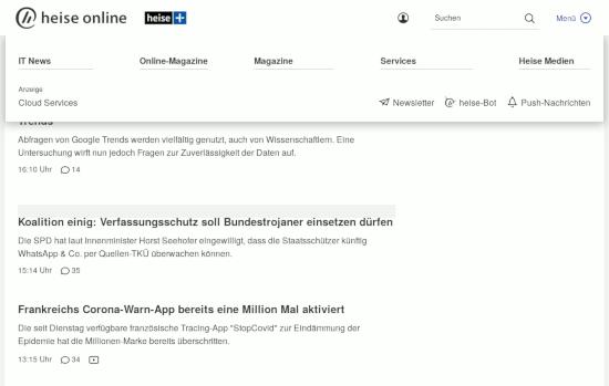 Bildschirmfoto der webseit von heise onlein