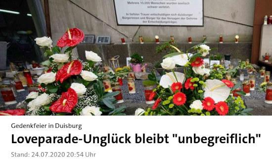 Bildschirmfoto von der tagesschau-webseit -- gedenkfeier in duisburg: loveparade-unglück bleibt unbegreiflich