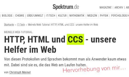 Bildschirmfoto spektrum.de --  Meinels Web-Tutorial: HTTP, HTML und CCS - unsere Helfer im Web -- Von diesen Protokollen und Sprachen bekommt man als Anwender kaum etwas mit. Dabei sind sie es, die das Web am Laufen halten. -- von Christoph Meinel