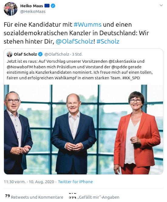 Fiepser von @heikomaas, verifiziertes konto, vom 10. august 2020, 11:30 uhr: Für eine Kandidatur mit #Wumms und einen sozialdemokratischen Kanzler in Deutschland: Wir stehen hinter Dir, @OlafScholz! #Scholz