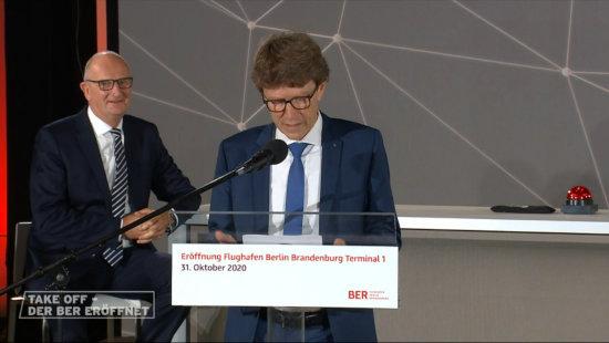 Bildschirmfoto ARD von der direktübertragung des berliner fluchhafens BER