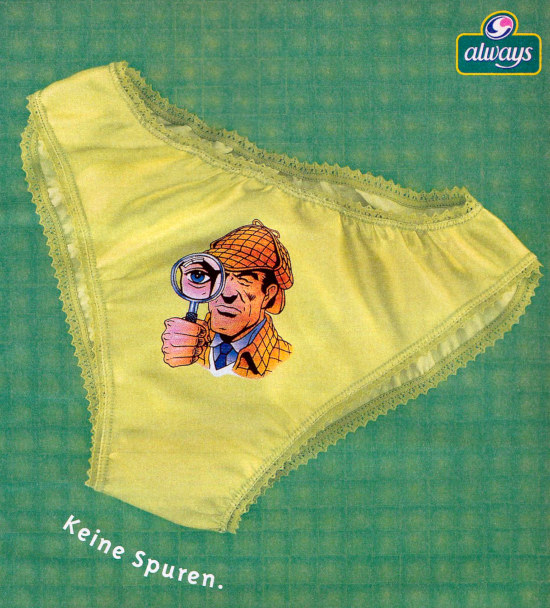 Always-Werbung aus dem Jahr 1998: Ein Slip mit aufgedrucktem Detektiv mit Lupe: Keine Spuren