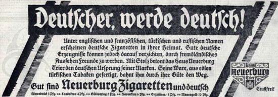 Zigarettenwerbung aus dem Jahr 1914: Deutscher, werde deutsch!