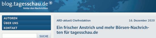 Tageschau-Blog -- ARD-aktuell Chefredaktion -- 16. Dezember 2020 -- Ein frischer Anstrich und mehr Börsen-Nachrichten für tagesschau.de