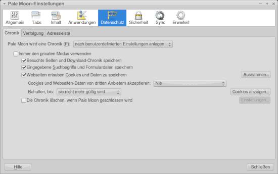Bildschirmfoto der entsprechenden einstellung im webbrauser pale moon