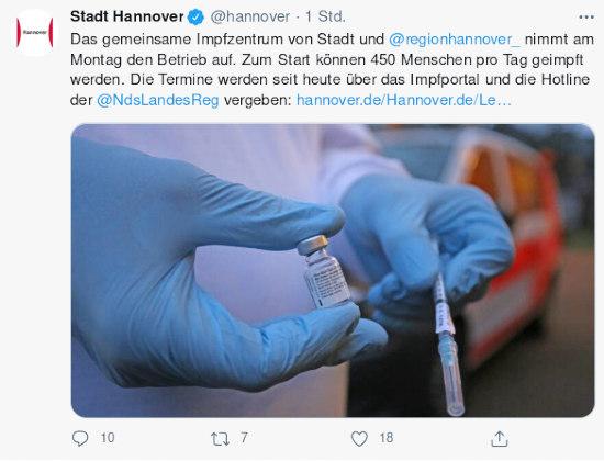 Fiepser von stadt hannover, @hannover, verifiziertes konto: Das gemeinsame Impfzentrum von Stadt und @regionhannover_  nimmt am Montag den Betrieb auf. Zum Start können 450 Menschen pro Tag geimpft werden. Die Termine werden seit heute über das  Impfportal und die Hotline der @NdsLandesReg vergeben: http://hannover.de/