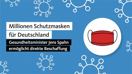 Millionen Schutzmasken für Deutschland -- Gesundheitsminister Jens Spahn ermöglicht direkte Beschaffung