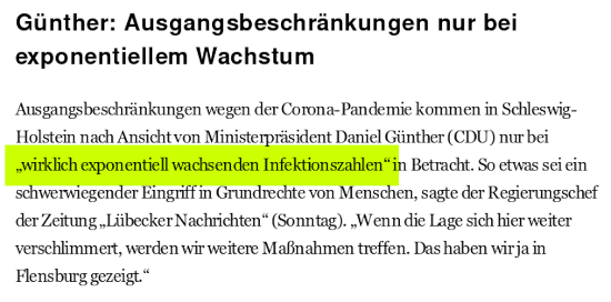 """Günther: Ausgangsbeschränkungen nur bei exponentiellem Wachstum -- Ausgangsbeschränkungen wegen der Corona-Pandemie kommen in Schleswig-Holstein nach Ansicht von Ministerpräsident Daniel Günther (CDU) nur bei """"wirklich exponentiell wachsenden Infektionszahlen"""" in Betracht. So etwas sei ein schwerwiegender Eingriff in Grundrechte von Menschen, sagte der Regierungschef der Zeitung """"Lübecker Nachrichten"""" (Sonntag). """"Wenn die Lage sich hier weiter verschlimmert, werden wir weitere Maßnahmen treffen. Das haben wir ja in Flensburg gezeigt."""""""