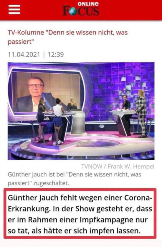 Günter Jauch fehlt wegen einer Corona-Erkrankung. In der Show gesteht er, dass er im Rahmen einer Impfkampagne nur so tat, als hätte er sich impfen lassen.