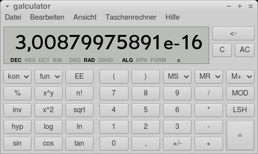 Screenshot meines Desktop-Taschenrechners, der die Wahrscheinlichkeit für dieses Ereignis anzeigt: 3,00879975891e-16