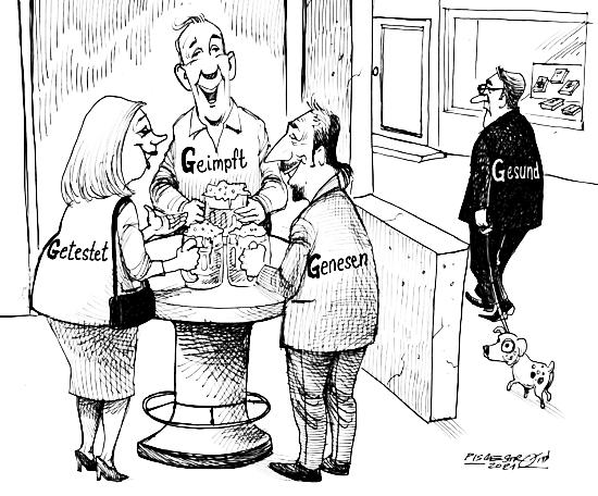 Karikatur. Um einen tisch stehen drei fröhliche personen mit bier in der hand und unterhalten sich angeregt. Sie sind mit »geimpft«, »getestet« und »genesen« beschriftet. Draußen für jemand missgelaunt seinen hund gassi, er ist mit »gesund« beschriftet.