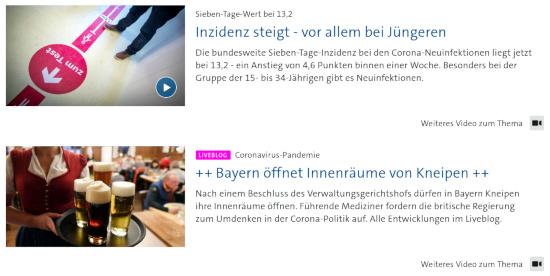 Bildschirmfoto der tagesschau-webseit. Dort sind direkt untereinander zwei überschriften sichtbar. -- Sieben-tage-wert bei 13,2: inzidenz steigt, vor allem bei jüngeren -- Coronavirus-pandemie: bayern öffnet innenräume von kneipen